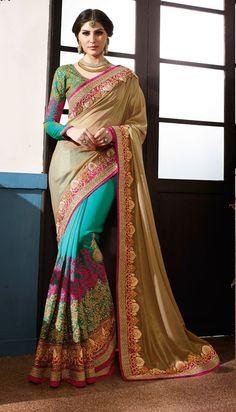 Aqua Blue Georgette Saree With Zari,Resham Thread and Stone Work #bandbaajaa.com #bandbaajaa #weddingsarees #weddingsaris #bridalsarees #bridalsaris #designersarees #designersaris #sarees #saris #weddingwear #weddingshopping