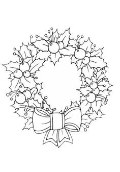 Paper Embroidery Patterns Christmas wreath colouring page as well as many other coloring sheets and worksheets that could be printed out and used as free time activities when work is done. Christmas Images, Christmas Colors, Christmas Art, Christmas Wreaths, Xmas, Vintage Christmas, Christmas Reef, Christmas Ornaments, Christmas Coloring Pages