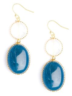 This posh-meets-preppy set of drop earrings works a lovely nautical motif with its cool blue and white gems. The gold frame, meanwhile, ups the glamour quotient.