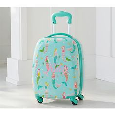 Pottery Barn Kids Aqua Mermaid Hard-Sided Spinner Luggage - BestProducts.com