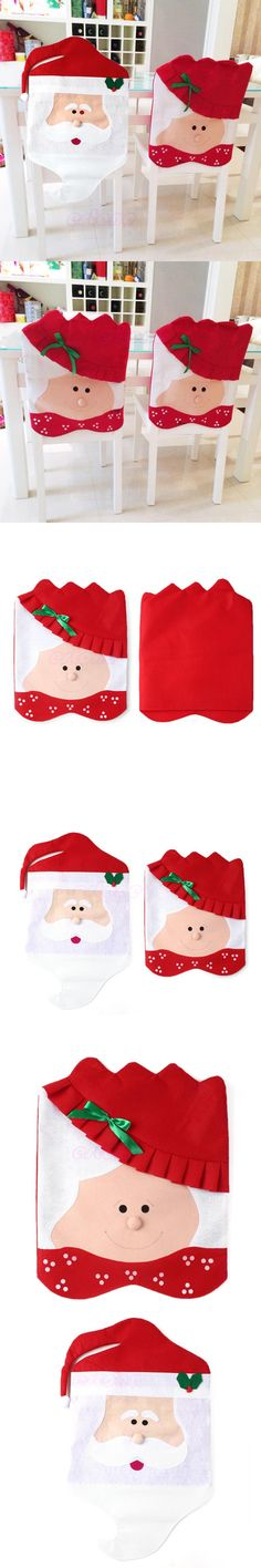 Lovely Mr Mrs Santa Claus Christmas Dining Room Chair Cover Home Party Decor Free Shipping