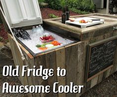DIY: How to Create a Rustic Cooler - Outdoor Bar - using pallets and a broken refrigerator. Excellent tutorial - via Instructables