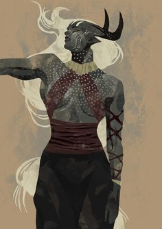 Dragon Age: Inquisition - Qunari card fan art, by empty-ocean