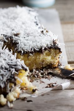 Donna Hay's Lamington Slice...this cake has coconut, chocolate and yellow cake ....it looks luscious...