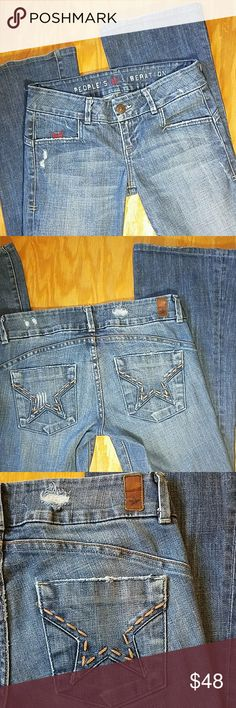 """People's Liberation low rise bootcut jeans People's Liberation low rise bootcut jeans. Lightly distressed. Very good used condition. Size ize 25. Measures approx 15.5"""" across the waist when laid flat with 31"""" imseam 7.5"""" rise and measure 9"""" across the leg hem. People's Liberation Jeans Boot Cut"""