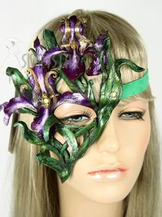 Hand Made in USA Leather Mask Iris Orchid Flower Fairy Nymph Ren Fair Costume
