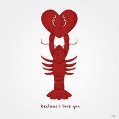 Loving Lobster Art Print by Phil Jones - X-Small Lobster Tattoo, Lobster Art, Hummer Tattoo, Couple Tat, Horse Star, Phil Jones, Love Illustration, Funny Art, Beautiful Tattoos
