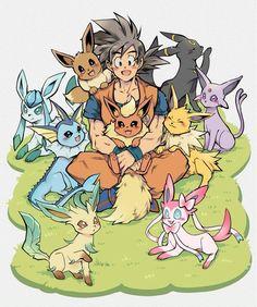 Goku and eevee evolutions DBZ Pokemon Pokemon Eeveelutions, Eevee Evolutions, Goku And Vegeta, Son Goku, Dragon Ball Z, Goku Pics, Dbz Memes, Goku And Chichi, Anime Crossover