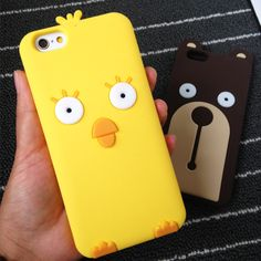 Bear and Chicken Shape Anti-Shatter Phone Case Cover in Sillicon for iPhone 6S & iPhone 6S Plus
