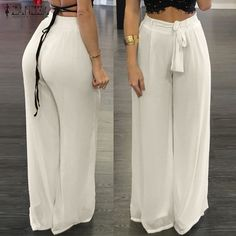 Cheap wide leg pants, Buy Quality chiffon wide leg pants directly from China leg pants Suppliers: ZANZEA Women Chiffon Wide Leg Pants 2018 Summer Autumn Casual Loose Elastic High Waist Bow Solid Oversized Trousers Pant Chiffon Palazzo Pants, Chiffon Pants, Palazzo Trousers, Trousers Women, Pants For Women, Clothes For Women, Black Trousers, Fashion Pants, Fashion Clothes
