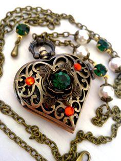 Heart Pocket Watch Pendant Necklace Swarovski by ApplebiteJewelry, Gothic Jewelry, Alternative Jewelry