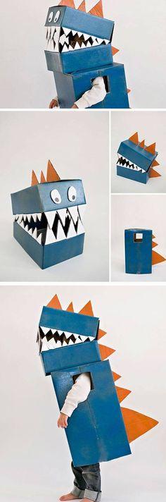 Cardboard Dinosaur | 25+ DIY Halloween Costumes for Kids to Make