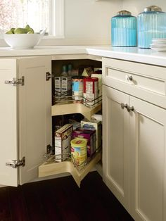 Kemper's Lazy Susan with Pull-Out features a chrome roto with center pull out sections for easy accessibility, which means more #storage options for #corner cabinets.