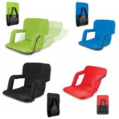 """Folding Chair2 - Portable recreational recliner stadium seat cushion chair. Folds up neatly for travel. Dimensions: 33.07"""" x 20.87"""" x 2.76"""". Perfect for the pool, beach, camping, fishing, hunting, concerts, dorms, video gaming, tailgating or any sporting events. This stadium chair is a great display enhancer or dealer loader. 5 star rating for peace of mind. www.logosurfing.com (800) 728-7192"""