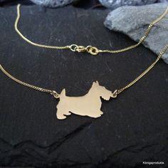 Scottish Terrier Halskette in 333er Gelbgold, Kette für Hundefreunde - NEU