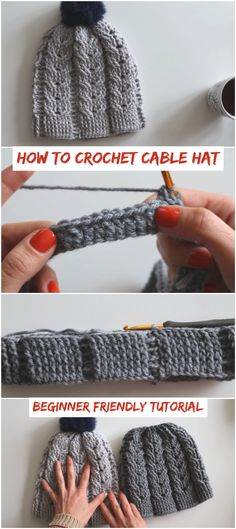 Newest Cost-Free Crochet Hat beginner Tips How To Crochet Cable Hat Beginner Friendly Tutorial – Crochetopedia Crochet Cable, Crochet Beanie, Crochet Yarn, Crochet Stitches, Crochet Hooks, Knitted Hats, Crochet Winter Hats, Knitting Patterns, Crochet Patterns