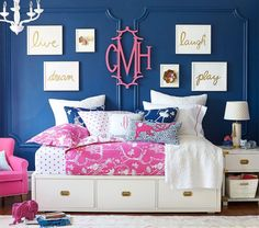 Girls Bedroom Blue And Pink little girl's room decorated in pink, white & gold | easy ideas to