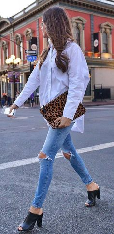 street style addict: shirt + rips + heels + printed bag