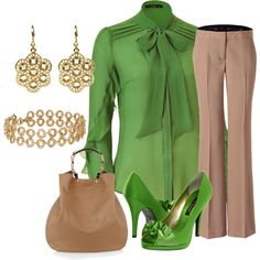 """""""Green & Gold Business Attire"""" by xx8763xx on Polyvore"""
