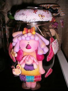 pote ,alimento Decorated Jars, Biscuit, Decorating Jars, Jars, Mason Jars, Biscuits, Cookie, Sponge Cake