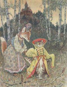 Russian fairy tale painting with fox and cat/ Русская народная сказка - Кот и лиса