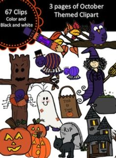 67 Halloween themed clipart set.  Clips come in color and black and white.  All images PNG formatted.**************************************************************************I tried to fit everything on the 3 pages as you see.  I did not show the black and white copies, but almost all of the images also come in black and white (with the exception of a few).  ********************************Pumpkins, Bats, and Witches all to help make your own TPT products fun and interesting for the kiddos…