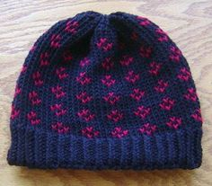 loom knit hat, small gauge loom, includes written pattern, yarn not specified, ribbed brim but NOT folded over, cable cast-on