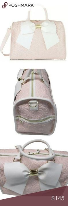 NWT-Betsey Johnson Weekender Travel Bag Pink Rose! NWT-Betsey Johnson  Weekender Travel Bag Blush Pink Rose Bow Duffle Suitcase. This Beautiful bag  is Pink ... 071ece57743f0