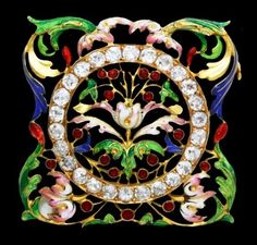 An antique gold, enamel and diamond brooch, ca.1900.
