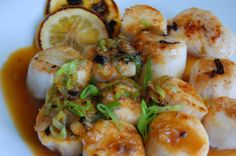 These sea scallops get a light, citrus glaze--they cook with a bit of zest, and we finish with a tart/sweet citrus glaze
