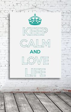 String-art pattern sheet KEEP CALM AND LOVE LIFE (119 x 57 cm) including stickers CROWN & AND
