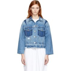 SJYP Blue Denim Cut-Off Jacket (€165) ❤ liked on Polyvore featuring outerwear, jackets, blue, long sleeve jean jacket, denim cut offs, patch pocket jacket, pocket jacket and distressed denim jacket