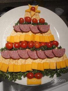 Meat, cheese and crackers tree