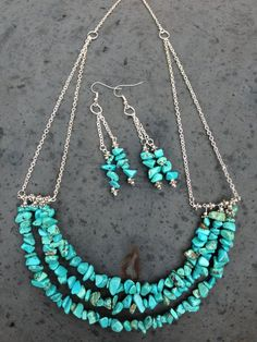 3 Tiered Turquoise Chip And Silver Necklace and by BeriMadeJewelry, $21.00:
