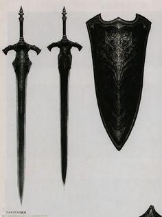 Weapon shield sword one handed two handed great bastard short Fantasy Sword, Fantasy Armor, Fantasy Weapons, Medieval Fantasy, Dark Fantasy, Swords And Daggers, Knives And Swords, Inspiration Drawing, Dark Souls Art