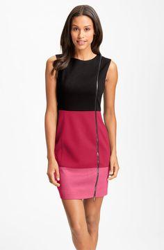 Laundry by Shelli Segal Colorblock Exposed Zipper Sheath Dress