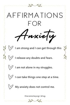 When feeling anxious, it feels like your mind is completely out of your control. I've been there. However, I've found that by actively using these affirmations for stress and anxiety, I've been able to fix my relationship with my own mind. Affirmations For Anxiety, Daily Positive Affirmations, Love Affirmations, Development Quotes, Self Development, Personal Development, Anxiety Help, Stress And Anxiety, Quarter Life Crisis