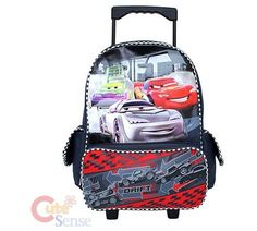 Disney Cars Mcqueen School Roller Backpack Item No:CM-08  Product Details  Disney Pixar Cars Mcqueen school Roller bag/ backpack   Sized for carrying or rolling with easy to-pull handle, padded shoulder straps comfortable wearing  2 Main Compartments, Zip Closure  Side mesh pocket for water bottle and pouch pocket keep small necessities organized on the other side  Easy maneuver with an extensible handle