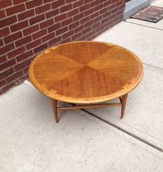 MID CENTURY MODERN LANE FURNITURE ROUND COFFEE TABLE w CHECKERED
