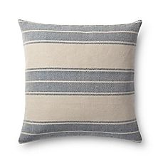 image of Magnolia Home by Joanna Gaines Carter Square Throw Pillow in Navy/Ivory