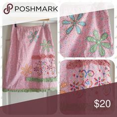 "Oilily Patches and Paths Skirt Pretty in pink! All-over floral print with gingham accents, ribbons, and embroidery. You can't get much girlier than this!  A-line 100% cotton  Size 40 (about a size 10). 15"" elastic waist, unstretched. Excellent condition! Oilily Skirts A-Line or Full"