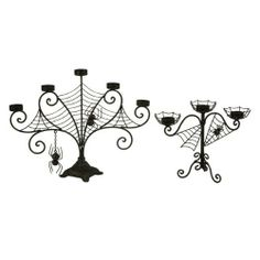spider candlelaberas | Set of 2 Spooky Halloween Black Spider Web Candelabra Candle Holders