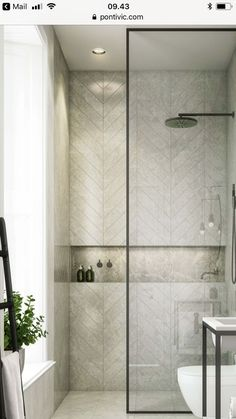 Modern Farmhouse, Rustic Modern, Classic, light and airy master bathroom design a few ideas. Bathroom makeover suggestions and master bathroom remodel a few ideas. Bathroom Interior Design, Shower Niche, Small Bathroom, Modern Bathroom, Industrial Bathroom Decor, Bathroom Renovations, Herringbone Tile, Framed Shower, Luxury Bathroom