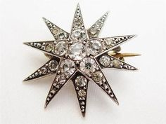 Antique Art Deco / Victorian Double Star Silver Mounted Paste Set Brooch Pin