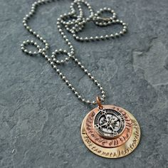 """""""I took the path less traveled by and that made all the difference"""" - Robert Frost The Road Not Taken, Robert Frost, Make All, Brass Pendant, Ball Chain, Take My, Hand Stamped, Attitude, Jewelry Box"""