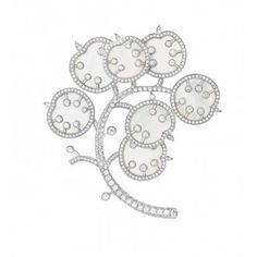 """VCA Lunaria """"Honesty"""" brooch. White mother-of-pearl, diamonds set in white gold."""