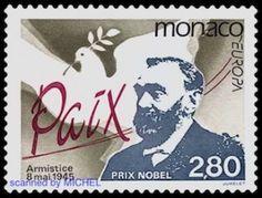 Alfred Nobel auf Briefmarke von Monaco 1995