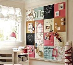 GREAT chalk board/ peg board / cork board/ pocket board.  Definitely on the to do list.