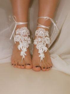 bridal anklet ivory Beach wedding barefoot sandals by geranum, $24.90