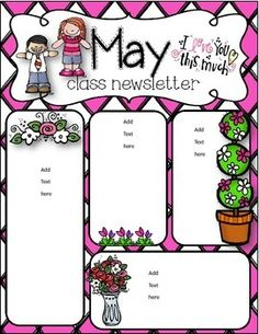 May newsletter by Simply Delightful in Second Grade Class Newsletter, Classroom Newsletter Template, Preschool Newsletter, Newsletter Templates, Newsletter Ideas, Preschool Assessment Forms, Classroom Themes, Seasonal Classrooms, Classroom Board